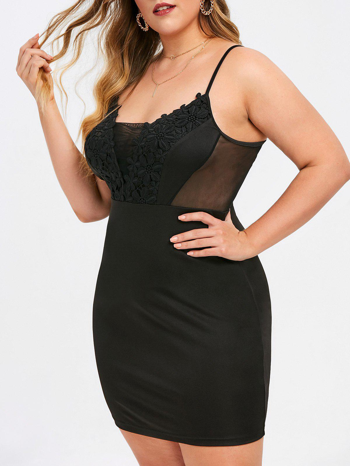 Discount Rosegal Plus Size Floral Applique Cami Bodycon Dress
