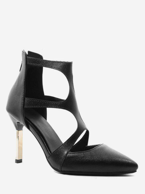 Shops Pointed Toe Cut Out Heeled Boots