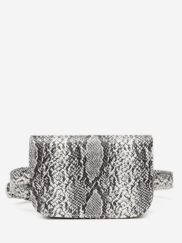 Store Snake Pattern Faux Leather Flap Fanny Pack