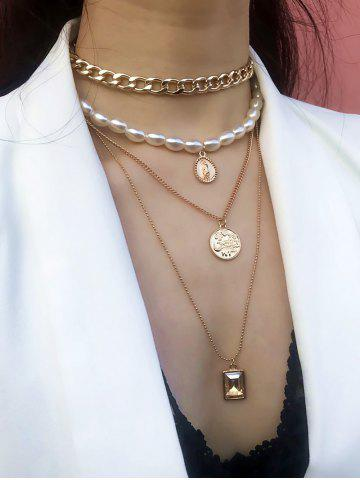 Multilayer Faux Pearl Chain Necklace