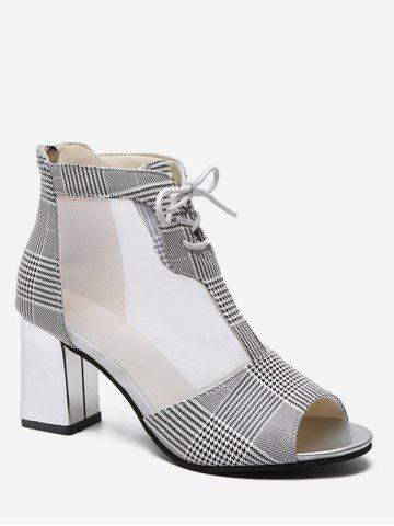 High Heel Mesh Panel Plaid Boots