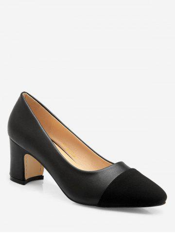 Square Toe Patch Mid Heel Pumps