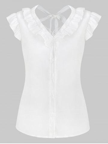 Chiffon Lace Panel Ruffled Blouse