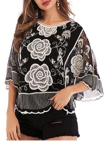 Mesh Embroidered Sheer Blouse