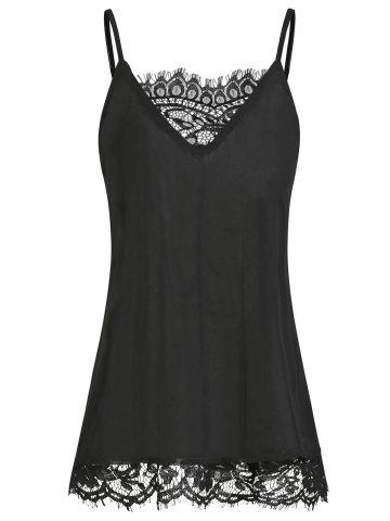 Chiffon Lace Panel Overlay Cami Top