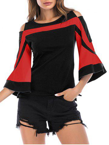 Two Tone Bell Sleeve Open Shoulder Tee