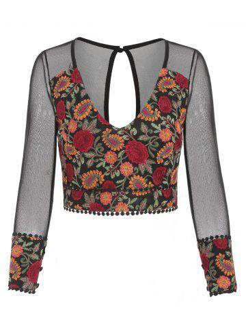 Sheer Back Floral Embroidered Crop Blouse
