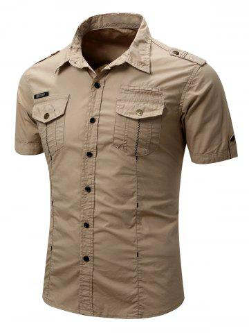 Pocket Decoration Button Up Leisure Shirt