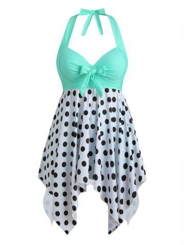 Bowknot Palm Tree Flamingo Fish Scale Polka Dot Plus Size Tankini Set