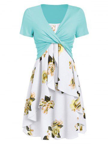 Flower Cami Dress and Twisted T-shirt Set
