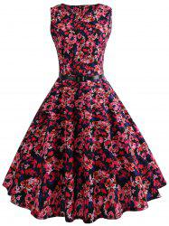 Floral Belted Vintage A Line Dress -