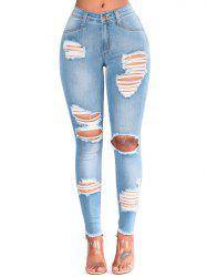 Ripped Cut Out Frayed Skinny Jeans -