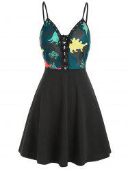 Dinosaur Lace Up Sleeveless Dress -