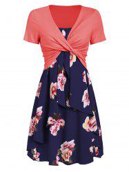 Flower Cami Dress and Twisted T-shirt Set -