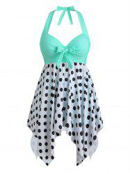 Bowknot Palm Tree Flamingo Fish Scale Polka Dot Plus Size Tankini Set -