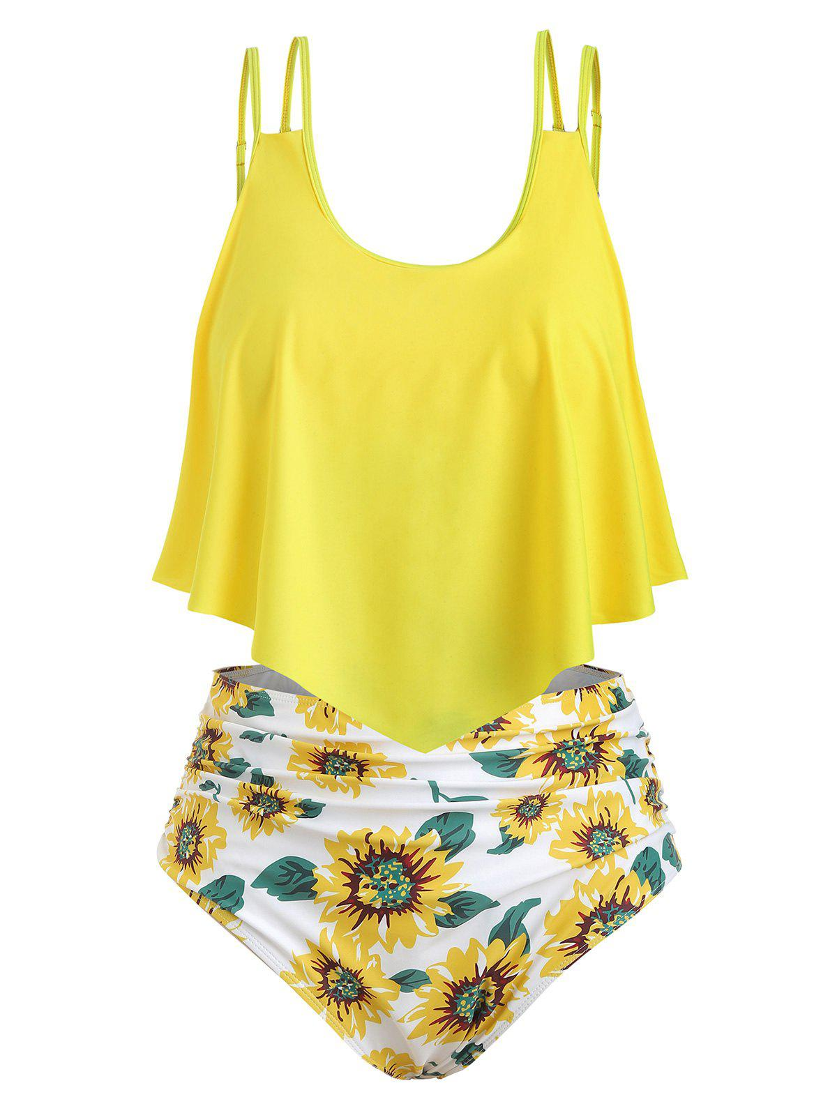 5e24037b1d2 28% OFF  Contrast Overlay Sunflower Plus Size Tankini Set