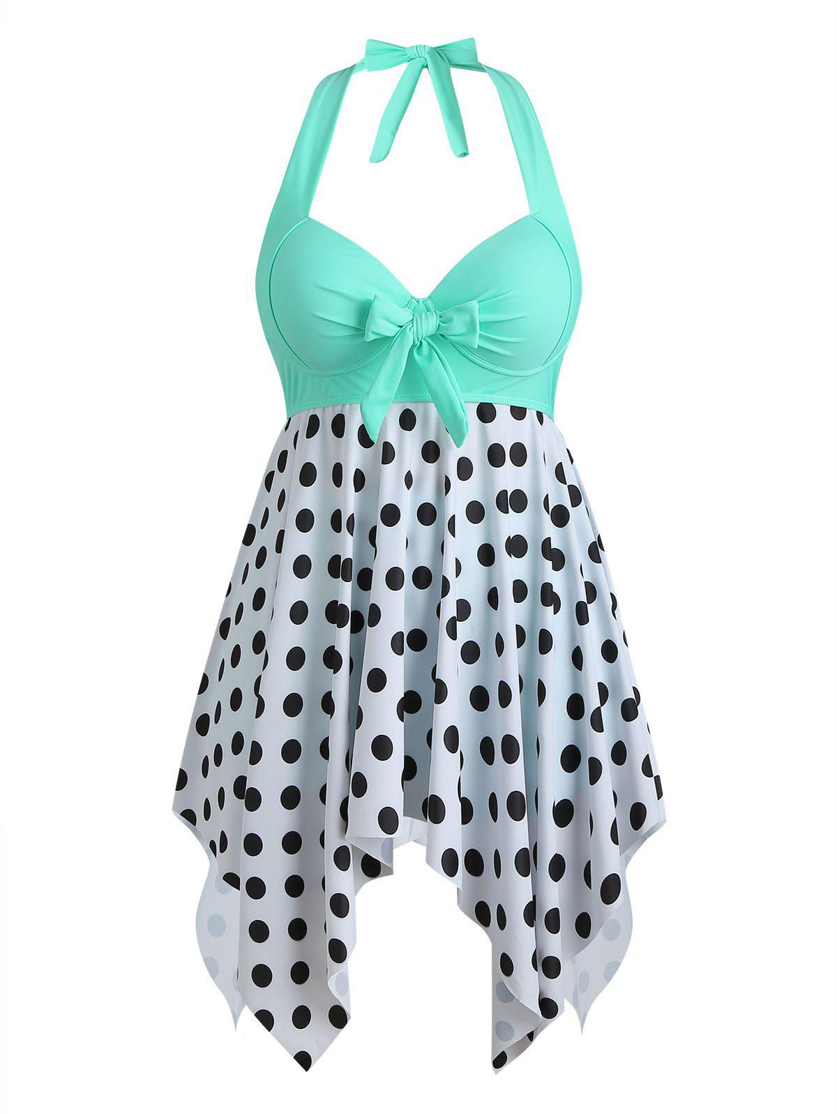 Outfit Bowknot Palm Tree Flamingo Fish Scale Polka Dot Plus Size Tankini Set