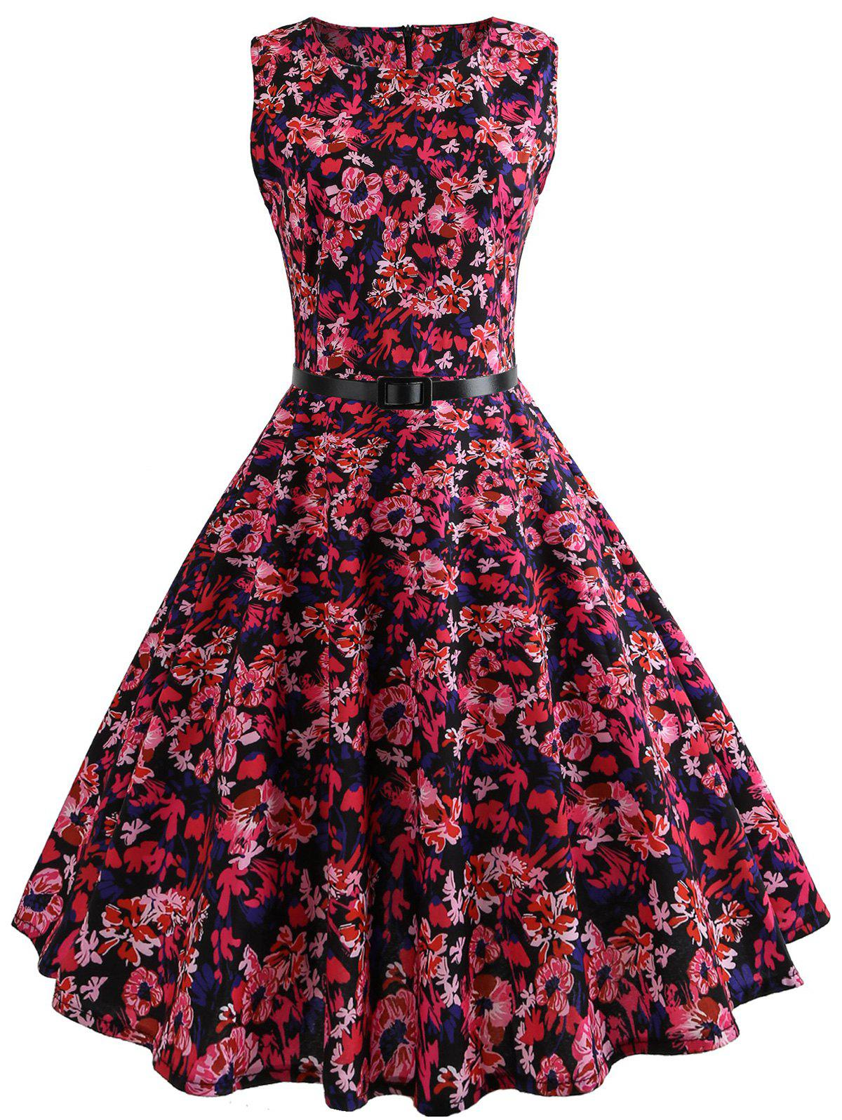 Unique Floral Belted Vintage A Line Dress