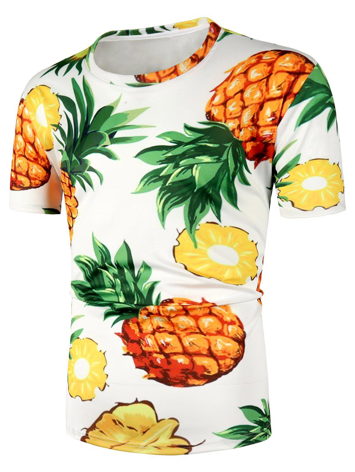 da58eaac24cd 27% OFF] Pineapple Pattern Short Sleeve T Shirt | Rosegal
