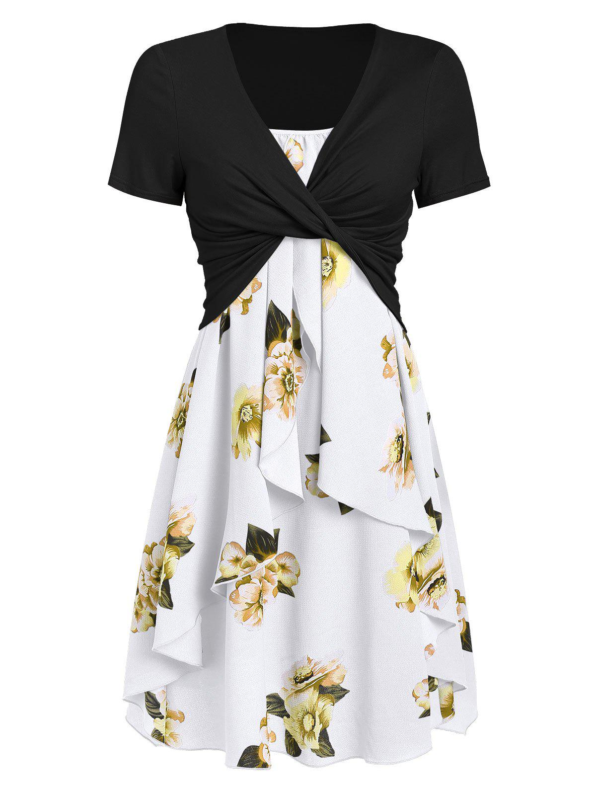 Cheap Flower Cami Dress and Twisted T-shirt Set