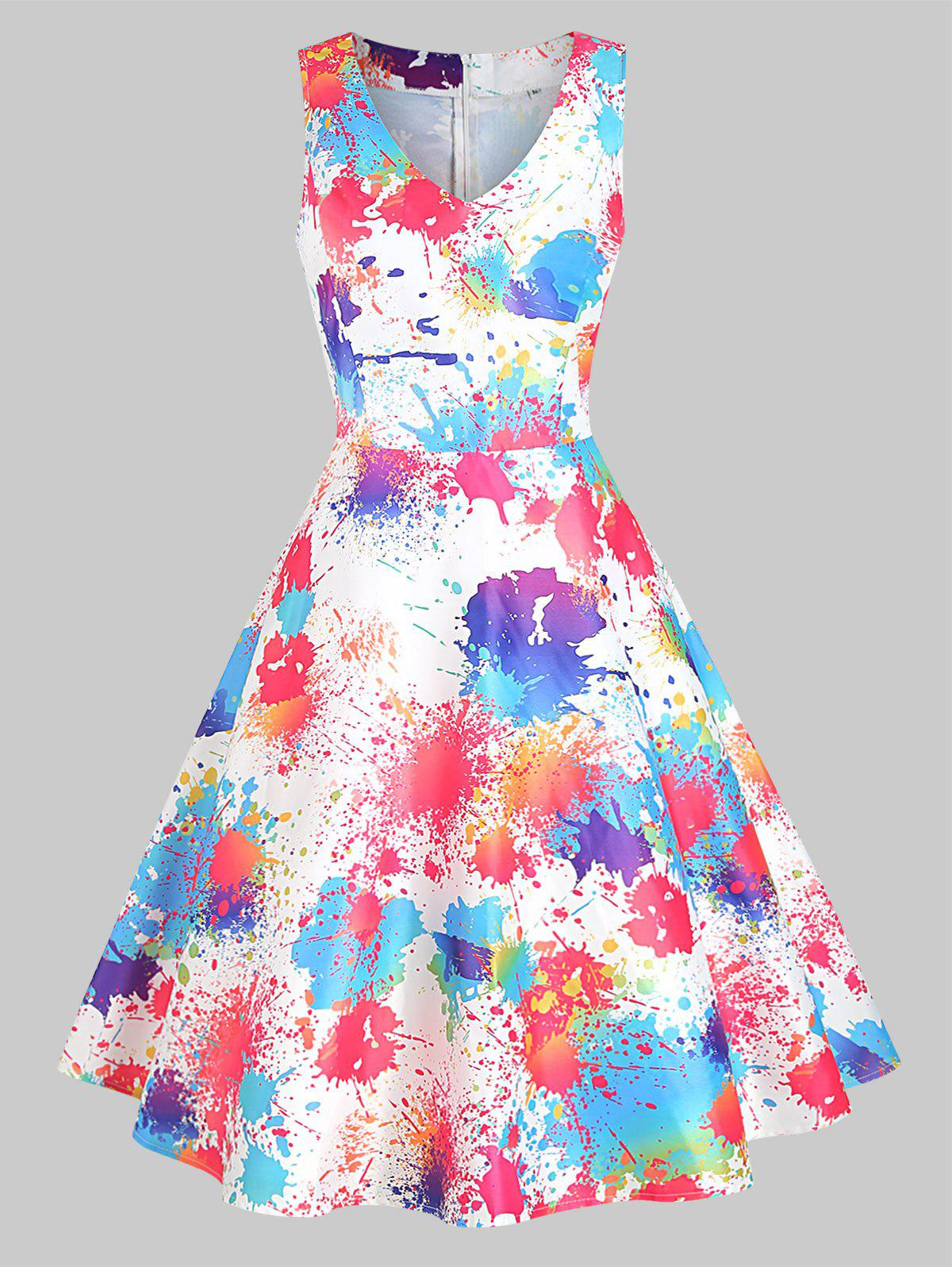 Fancy Ink Painting Sleeveless Dress