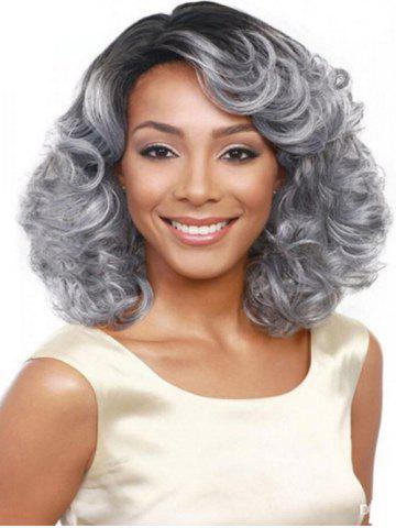 Side Part Curly Medium Synthetic Wig