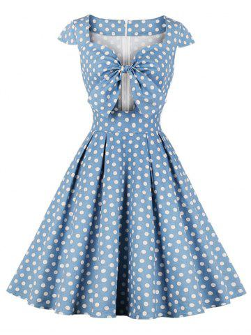 Polka Dot Bowknot Cutout Vintage Dress