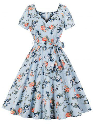 Sweetheart Neck Floral Retro Dress