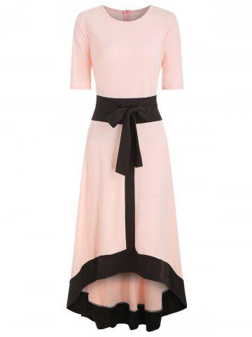 Round Neck Belted High Low Dress