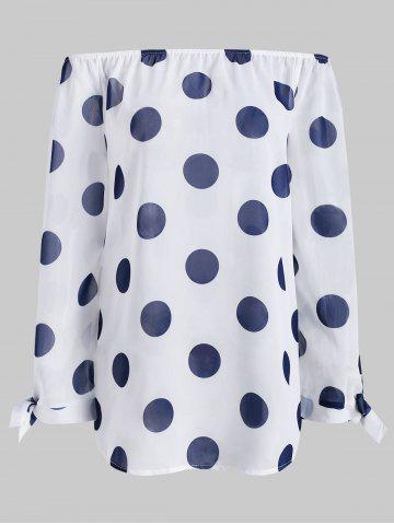 bedecafd4f084 Plus Size Dotted Off Shoulder Chiffon Blouse