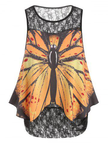 Butterfly Overlay Lace Plus Size Tank Top
