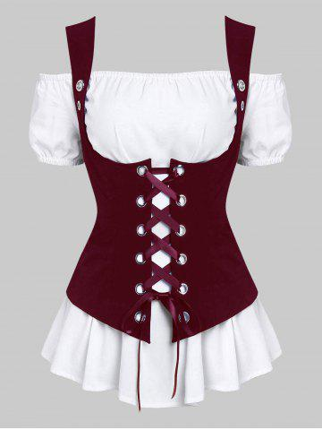 A Line Blouse and Lace-up Waistcoat Set