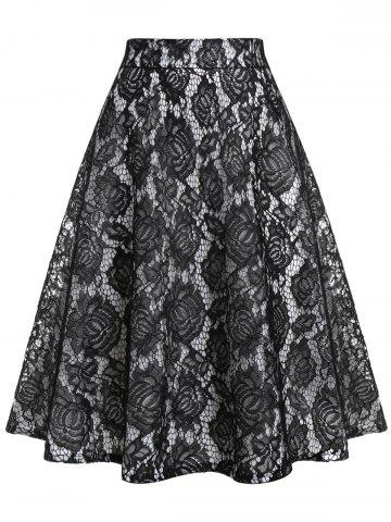 Plus Size Lace Panel Contrast A Line Skirt