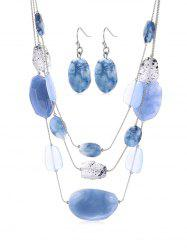 Irregular Shape Artificial Gem Necklace and Earrings -