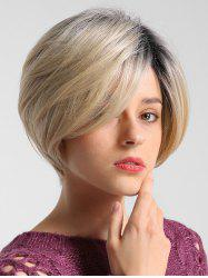 Straight Medium Gradient Bob Human Hair Wig -