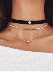 Rhinestone Chain Layered Choker Necklace -