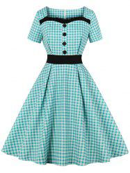 Frilled Button Gingham 1950s Dress -
