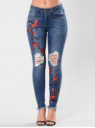 Ripped Flower Embroidered Skinny Jeans -