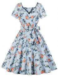 Sweetheart Neck Floral Retro Dress -