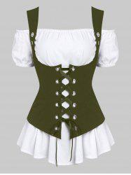 A Line Blouse and Lace-up Waistcoat Set -