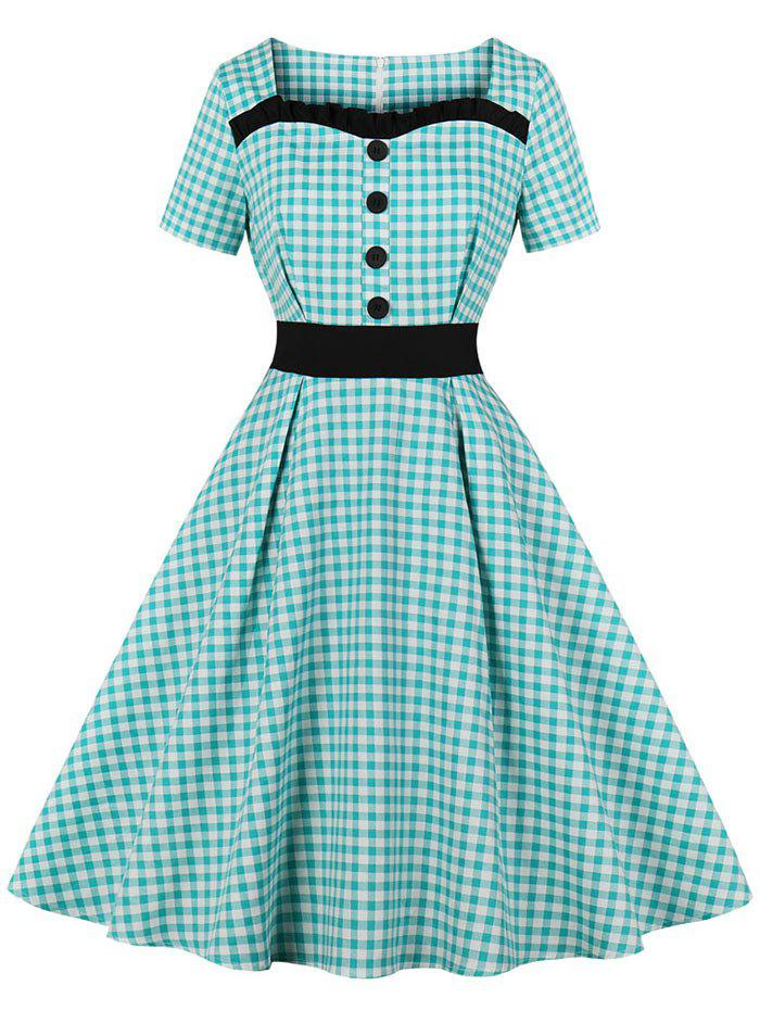 Chic Frilled Button Gingham 1950s Dress