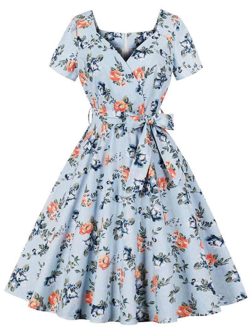 Hot Sweetheart Neck Floral Retro Dress