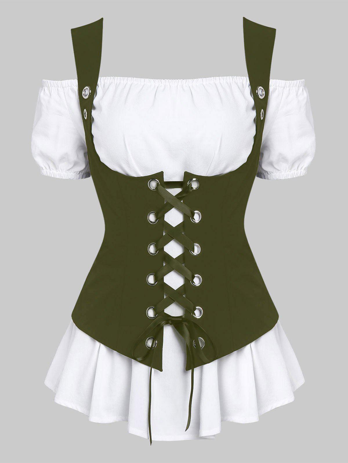 Fashion A Line Blouse and Lace-up Waistcoat Set