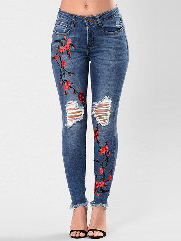 New Ripped Flower Embroidered Skinny Jeans