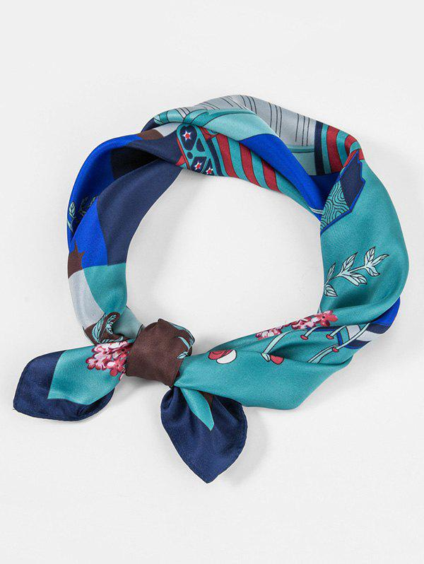 Unique Giraffe Flower Print Twill Square Scarf
