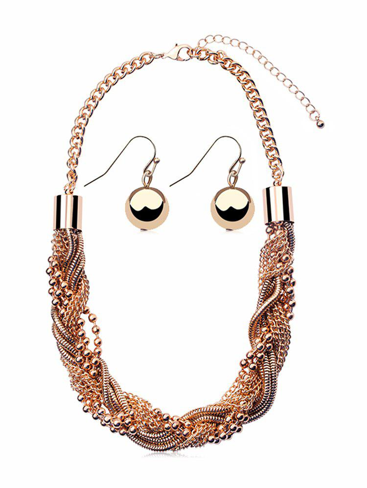 Cheap Beaded Layered Chain Necklace and Hook Earrings Set