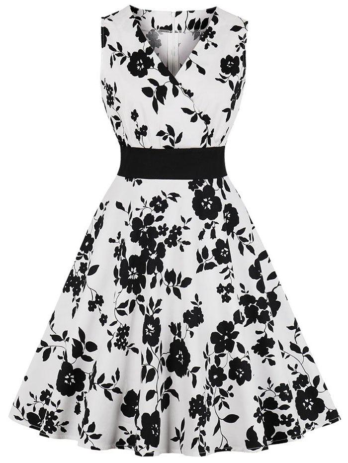 Outfit Floral Sleeveless Surplice Vintage Dress