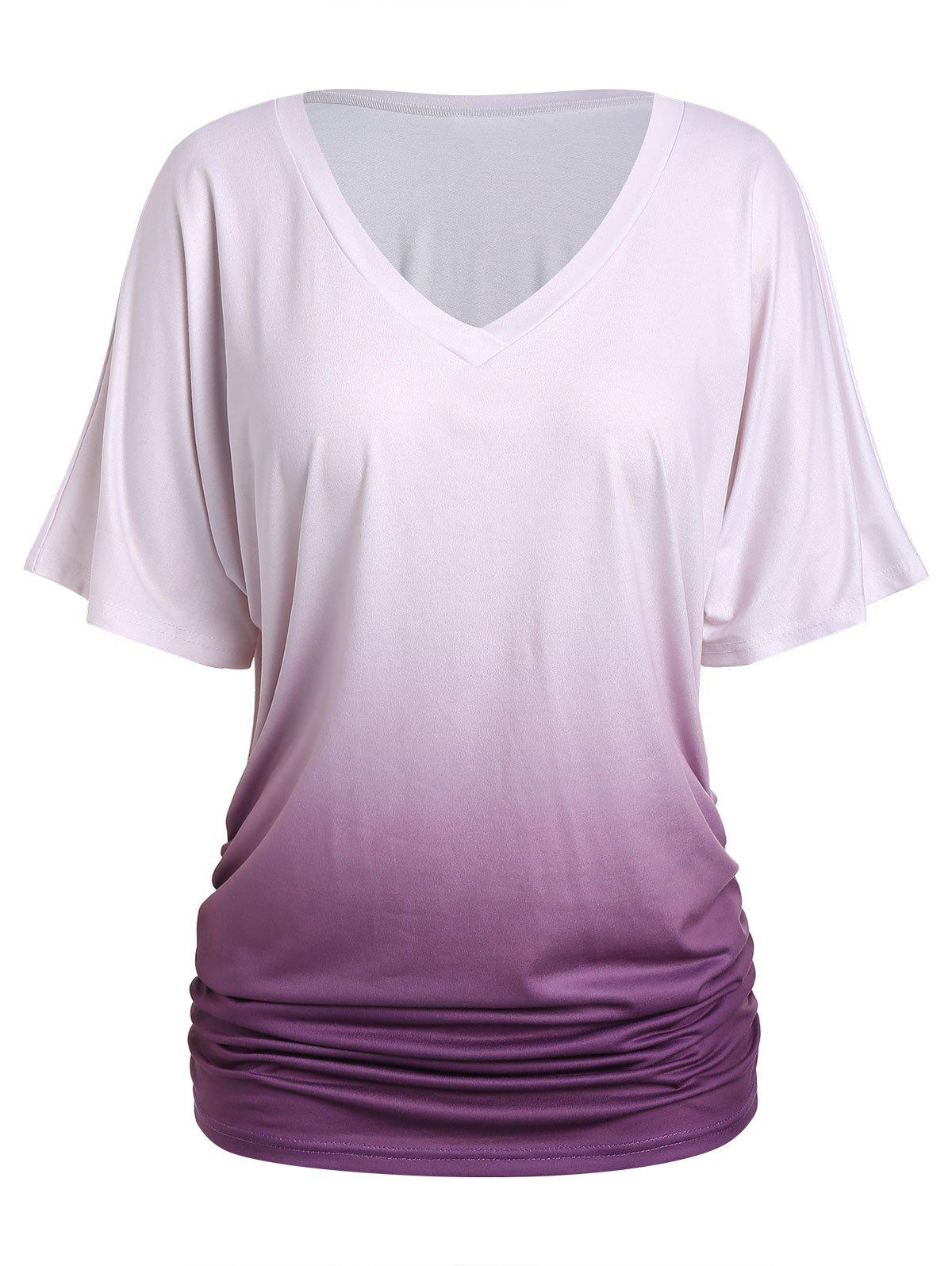 Outfits Plus Size Ombre Ruched T Shirt
