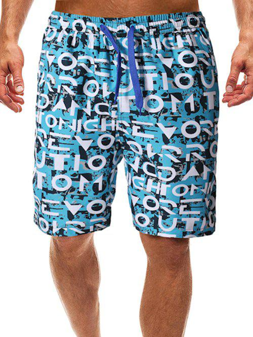 Allover Letters Painting Print Beach Shorts