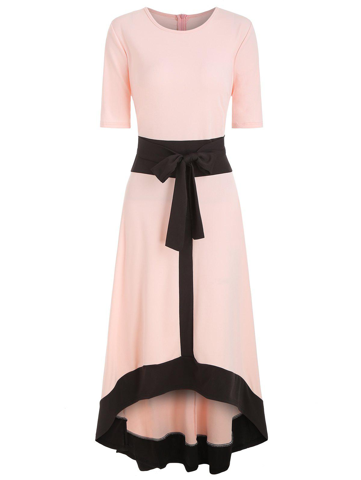 Cheap Round Neck Belted High Low Dress